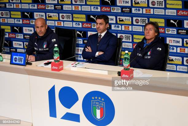 Head coach Italy Luigi Di Biagio FIGC Vice Commissioner Alessandro Costacurta and Italy Team Manager Gabriele Oriali speak to the media during a...