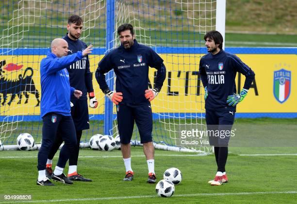 Head coach Italy Luigi Di Biagio, Gianluigi Donnarumma, Gianluigi Buffon and Mattia Perin chat during a Italy training session at Centro Tecnico...