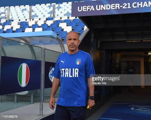 Head coach Italy Luigi Di Biagio looks on during a Italy training session at Mapei Stadium on June 21, 2019 in Reggio nell'Emilia, Italy.