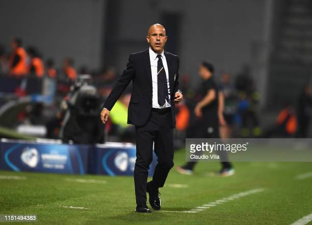 Head coach Italy Luigi Di Biagio reacts during the 2019 UEFA U-21 Group A match between Belgium and Italy at Stadio Citta del Tricolore on June 22,...