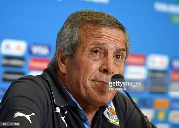 Head coach Italy Oscar Tabarez looks on during press conference at the Dunas Arena in Natal on June 23 2014 in Natal Brazil