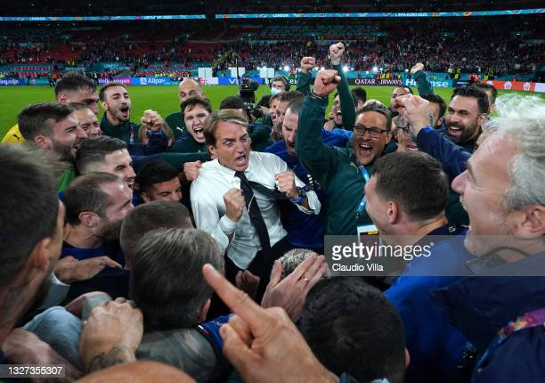 Head coach Italy Roberto Mancini celebrates at the end of the UEFA Euro 2020 Championship Semi-final match between Italy and Spain at Wembley Stadium...