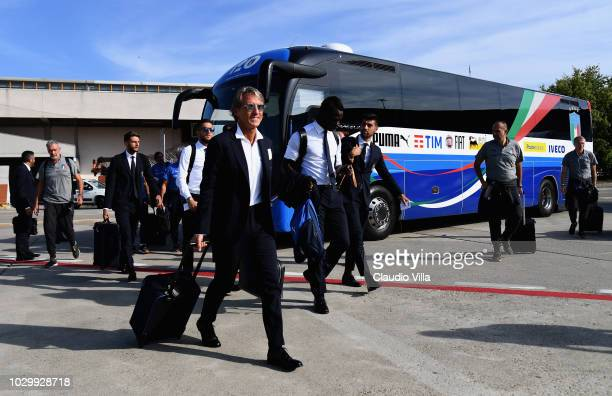 Head coach Italy Roberto Mancini departs to Lisbon from Bologna Airport on September 9 2018 in Bologna Italy
