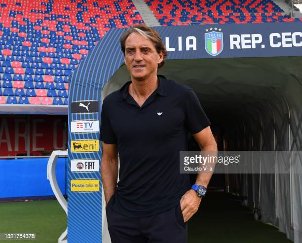 Head coach Italy Roberto Mancini looks on before the international friendly match between Italy and Czech Republic at Renato Dall'Ara Stadium on June...