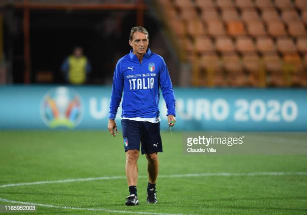 Head coach Italy Roberto Mancini looks on during Italy training session on September 4 2019 in Yerevan Armenia