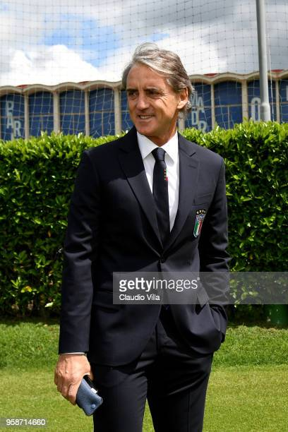 Head coach Italy Roberto Mancini looks on prior to the press conference at Centro Tecnico Federale di Coverciano on May 15 2018 in Florence Italy