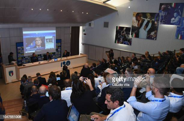 Head coach Italy Roberto Mancini Michele Uva General Director of FIGC and Alessandro Costacurta Commissioner of FIGC speak with the media during a...