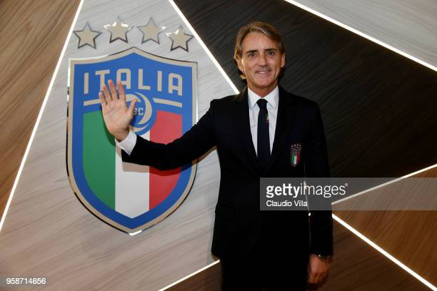 Head coach Italy Roberto Mancini poses for a photo prior to the press conference at Centro Tecnico Federale di Coverciano on May 15, 2018 in...
