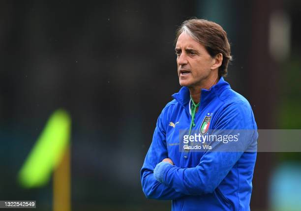 Head coach Italy Roberto Mancini reacts during a Italy training session at Centro Tecnico Federale di Coverciano on June 08, 2021 in Florence, Italy.