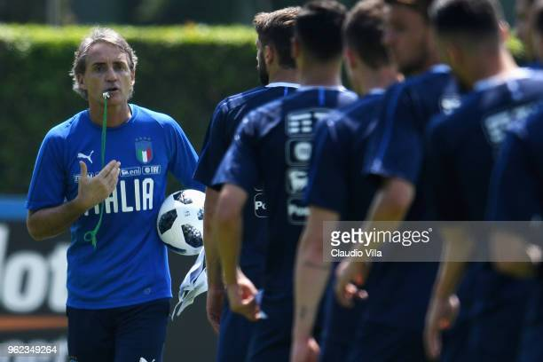 Head coach Italy Roberto Mancini reacts during a Italy training session at Centro Tecnico Federale di Coverciano on May 25, 2018 in Florence, Italy.