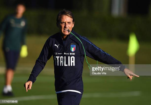 Head coach Italy Roberto Mancini reacts during an Italy training session at Centro Tecnico Federale di Coverciano on October 8, 2019 in Florence,...