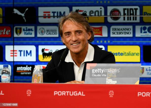 Head coach Italy Roberto Mancini speaks with a media during a press conference at Estadio da Luz on September 9 2018 in Lisbon Portugal