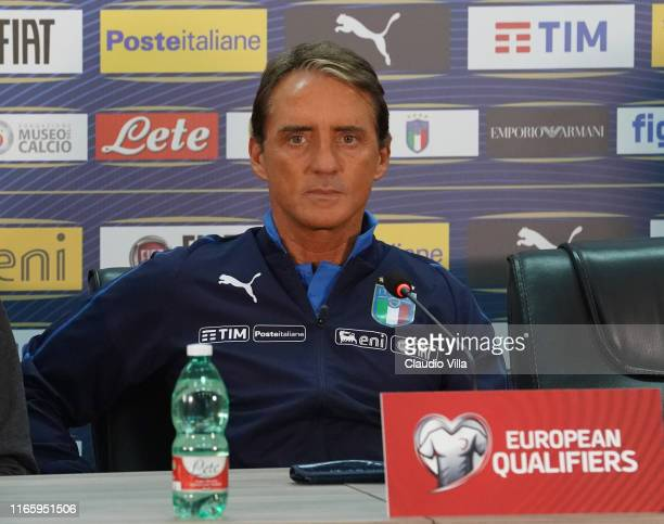 Head coach Italy Roberto Mancini speaks with the media durin press conference on September 4, 2019 in Yerevan, Armenia.