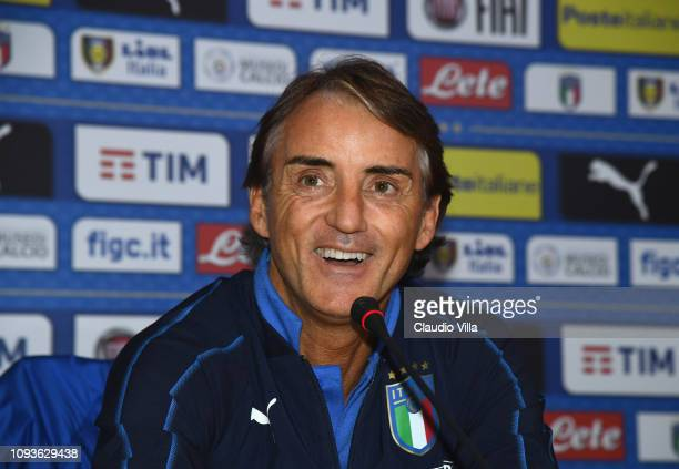 Head coach Italy Roberto Mancini speaks with the media during a press conference at Centro Tecnico Federale di Coverciano on February 4 2019 in...