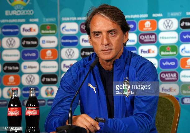 Head coach Italy Roberto Mancini speaks with the media during the Italy press conference ahead of the UEFA Euro 2020 Group A match between Italy and...