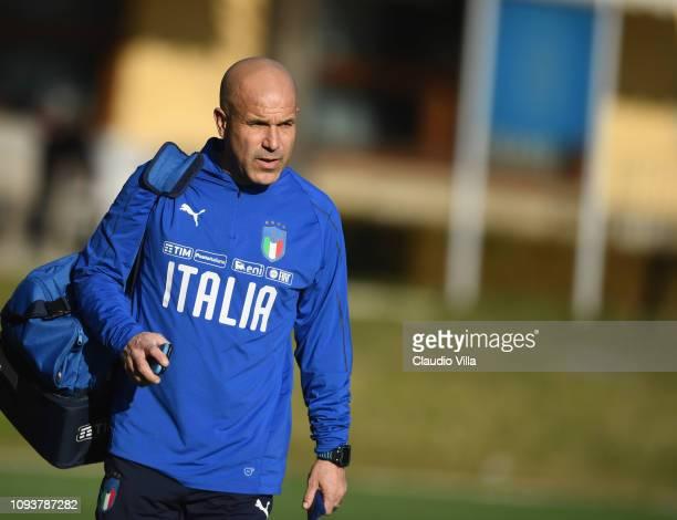 Head coach Italy U21 Luigi Di Biagio looks on during a training session at Centro Tecnico Federale di Coverciano on February 4, 2019 in Florence,...
