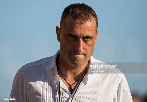 Head Coach Ivaylo Petev of AEL Limassol looks on during the Cypriot First Division match AEL Limassol FC and APOEL FC at the Tsirion Stadium on May...