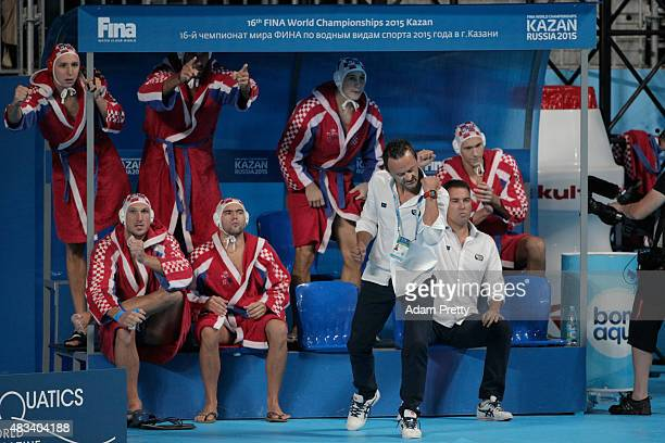 Head Coach Ivica Tucak of Croatia reacts to a goal during the Men's gold medal match between Croatia and Serbia on day fifteen of the 16th FINA World...