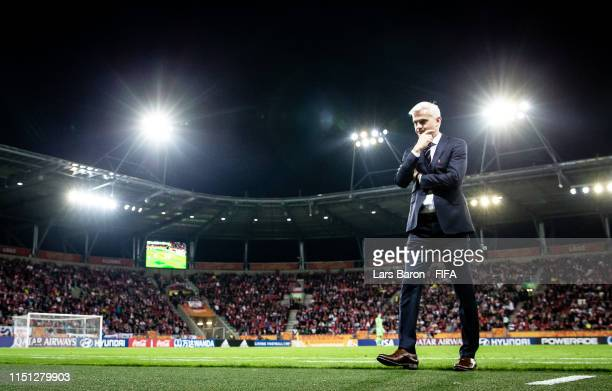 Head coach Jacek Magiera of Poland is seen during the 2019 FIFA U-20 World Cup group A match between Poland and Colombia at Lodz Stadium on May 23,...