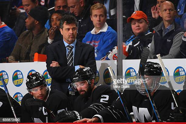 Head Coach Jack Capuano loos on from the bench during the game against the Chicago Blackhawks at the Barclays Center on December 15 2016 in Brooklyn...