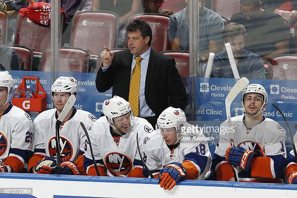 Head coach Jack Capuano of the New York Islanders directs the players during third period action against the Florida Panthers in Game One of the...