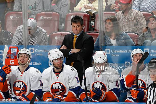 Head coach Jack Capuano of the New York Islanders looks on during the second overtime period against the Florida Panthers in Game Five of the Eastern...