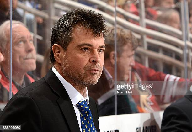 Head coach Jack Capuano of the New York Islanders looks on from the bench against the Arizona Coyotes at Gila River Arena on January 7 2017 in...