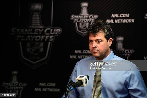 Head coach Jack Capuano of the New York Islanders speaks to members of the press after the Islanders defeated the Washington Capitals 41 in Game One...