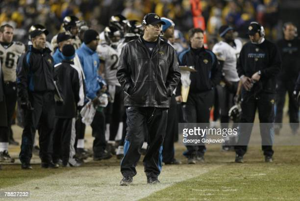 Head coach Jack Del Rio of the Jacksonville Jaguars looks on from the sideline during an AFC Wild Card game against the Pittsburgh Steelers at Heinz...