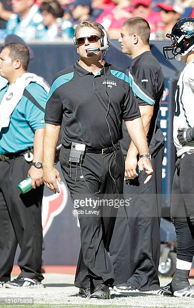 Head coach Jack Del Rio of the Jacksonville Jaguars walks the sidelines during a fotball game against the Houston Texans at Reliant Stadium on...