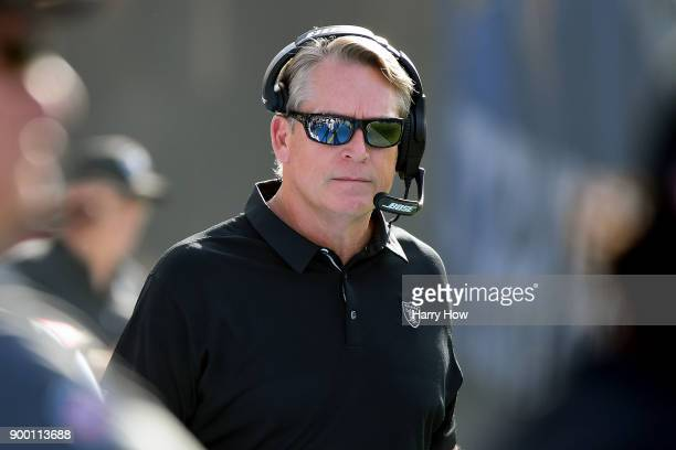Head Coach Jack Del Rio of the Oakland Raiders looks on during the first quarter of the game against the Los Angeles Chargers at StubHub Center on...