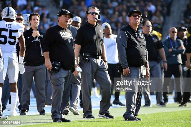 Head Coach Jack Del Rio of the Oakland Raiders looks on during the game against the Los Angeles Chargers at StubHub Center on December 31 2017 in...