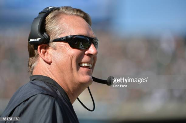 Head coach Jack Del Rio of the Oakland Raiders looks on during their NFL game against the Los Angeles Chargers at OaklandAlameda County Coliseum on...