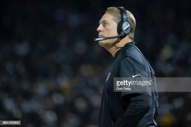 Head coach Jack Del Rio of the Oakland Raiders looks on during their NFL game against the Dallas Cowboys at OaklandAlameda County Coliseum on...