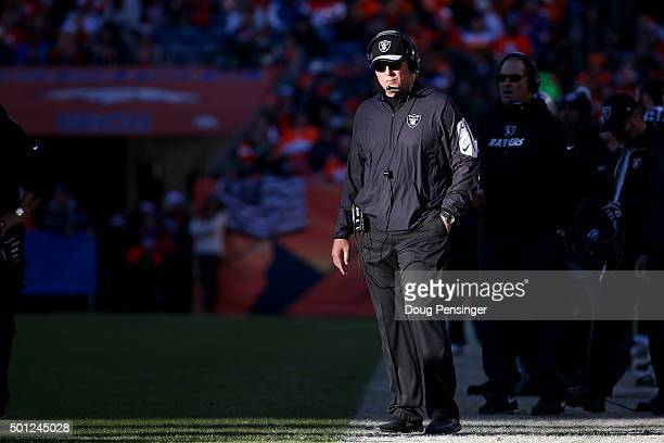 Head coach Jack Del Rio of the Oakland Raiders looks on from the sideline during a game against the Denver Broncos at Sports Authority Field at Mile...