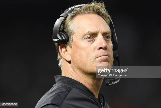 Head coach Jack Del Rio of the Oakland Raiders looks on from the sidelines against the Los Angeles Rams during the third quarter of their preseason...