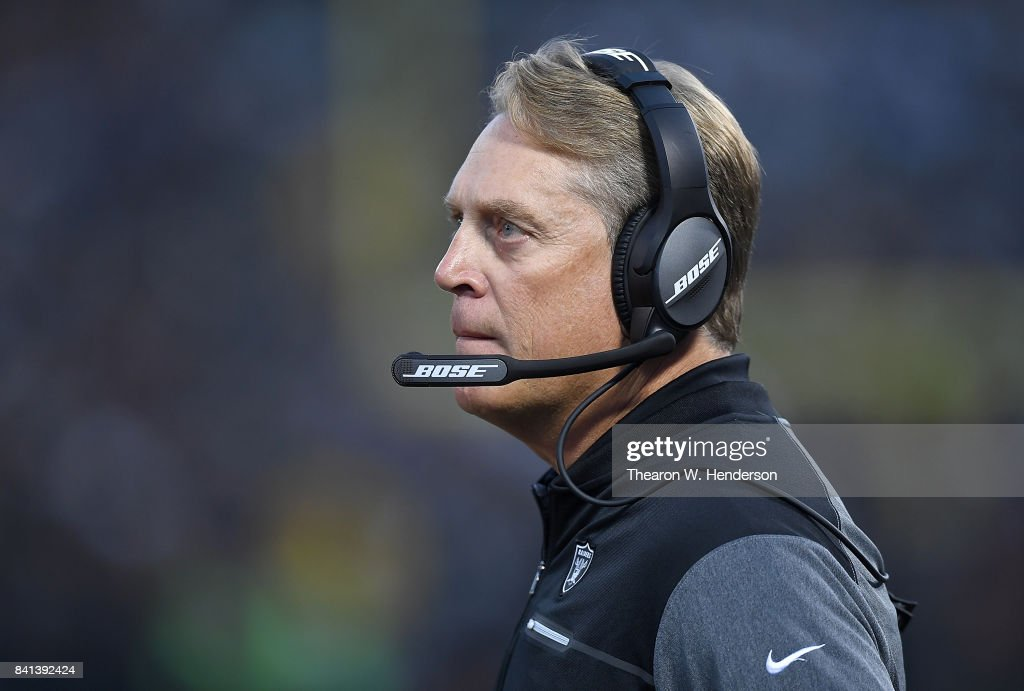 Head coach Jack Del Rio of the Oakland Raiders looks on from the sidelines against the Seattle Seahawks during the first quarter of their game at the Oakland-Alameda County Coliseum on August 31, 2017 in Oakland, California.