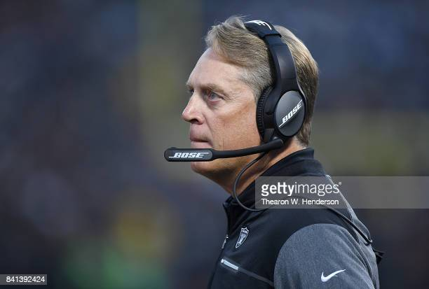 Head coach Jack Del Rio of the Oakland Raiders looks on from the sidelines against the Seattle Seahawks during the first quarter of their game at the...