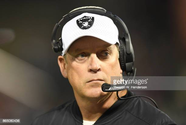 Head coach Jack Del Rio of the Oakland Raiders looks on from the sidelines against the Kansas City Chiefs during their NFL football game at...