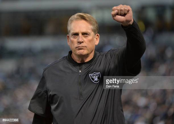 Head coach Jack Del Rio of the Oakland Raiders looks on prior to their game against the Dallas Cowboys at OaklandAlameda County Coliseum on December...