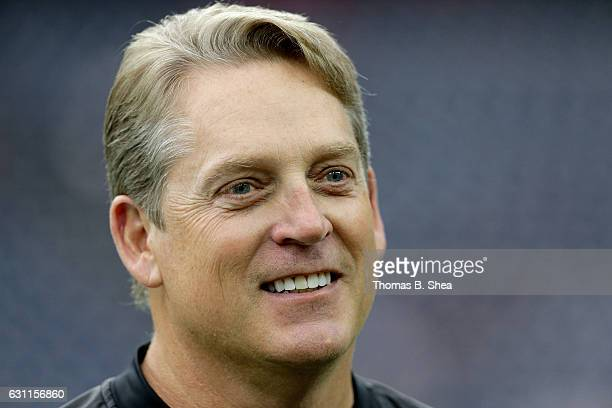 Head coach Jack Del Rio of the Oakland Raiders on the field before their game against the Houston Texans in the AFC Wild Card game at NRG Stadium on...
