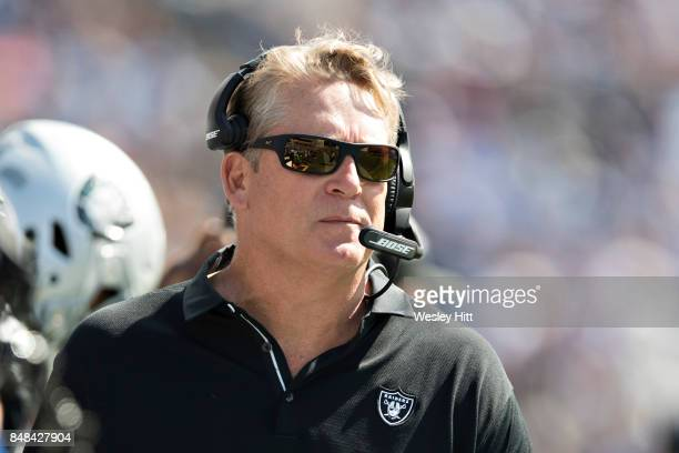 Head Coach Jack Del Rio of the Oakland Raiders on the sidelines during a game against the Tennessee Titans at Nissan Stadium on September 10 2017 in...