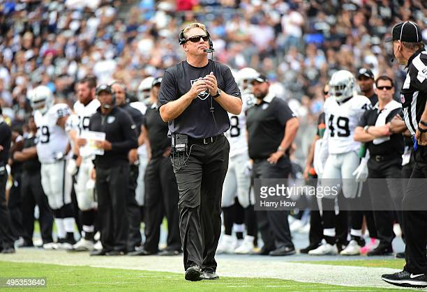 Head coach Jack Del Rio of the Oakland Raiders on the sidelines against the San Diego Chargers at Qualcomm Stadium on October 25 2015 in San Diego...
