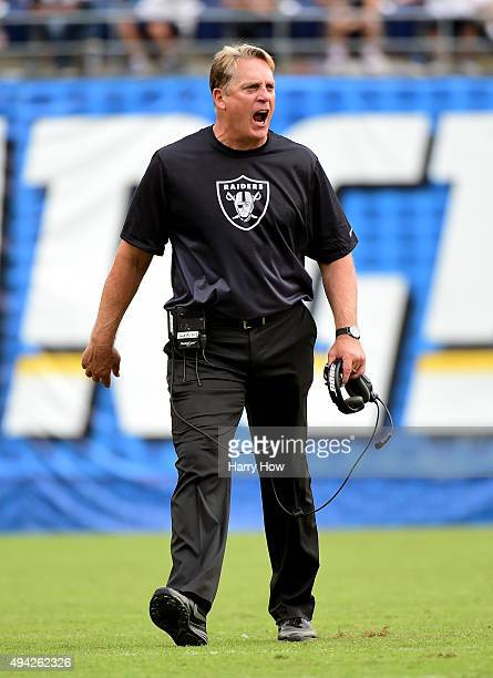 Head coach Jack Del Rio of the Oakland Raiders reacts to a call against his team during the fourth quarter against the San Diego Chargers at Qualcomm...