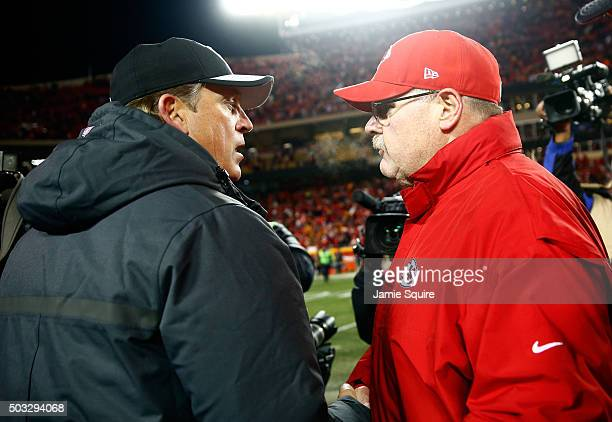 Head coach Jack Del Rio of the Oakland Raiders shakes hands with head coach Andy Reid of the Kansas City Chiefs following the Chiefs 2317 victory...