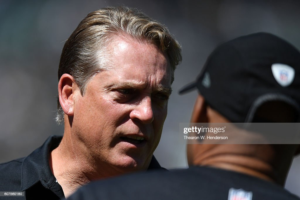 Head coach Jack Del Rio of the Oakland Raiders stands on the sidelines prior to their NFL game against the Atlanta Falcons at Oakland-Alameda County Coliseum on September 18, 2016 in Oakland, California.