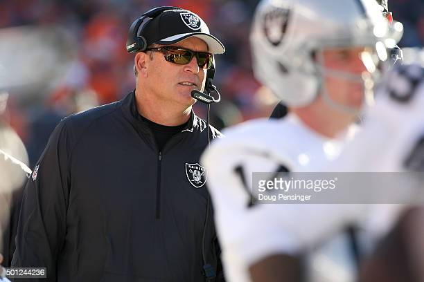 Head coach Jack Del Rio of the Oakland Raiders stands on the side line during a game against the Denver Broncos at Sports Authority Field at Mile...