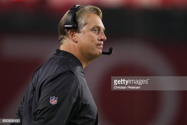 Head coach Jack Del Rio of the Oakland Raiders watches from the sidelines during the first half of the NFL game against the Arizona Cardinals at the...