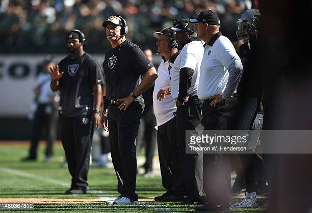 head coach Jack Del Rio of the Oakland Raiders watches his team compete against the Baltimore Ravens at OaklandAlameda County Coliseum on September...