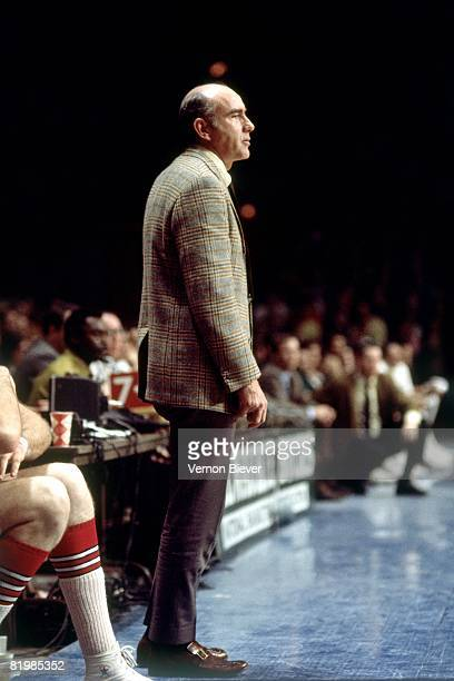 Head coach Jack Ramsay of the Portland Trail Blazers looks on from the sideline during a game against the Milwaukee Bucks in the 1970 season at the...